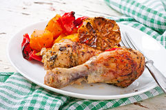 Baked pumpkin with chicken Stock Image