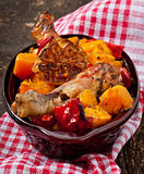 Baked pumpkin with chicken Stock Photos