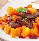 Baked pumpkin with meat Stock Image