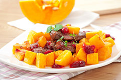 Baked pumpkin with meat Stock Images