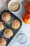 Baked pumpkin pies with sugar powder stock images