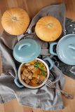 Baked pumpkin in a pot Royalty Free Stock Images