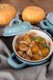 Baked pumpkin in a pot Royalty Free Stock Photos