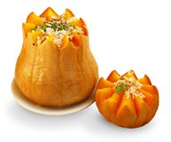 Baked pumpkin with rice Stock Image
