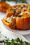 Baked Pumpkin with Rice and Fruits Stuffing Stock Photography