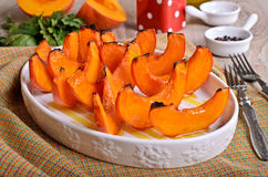 Baked pumpkin slices Royalty Free Stock Photography