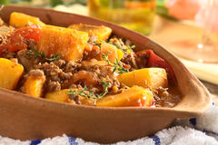 Baked Pumpkin, Tomato, Mincemeat Dish Stock Images