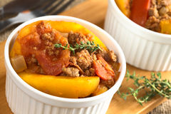 Baked Pumpkin, Tomato, Mincemeat Dish Stock Photography