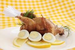 Baked quail Stock Photo