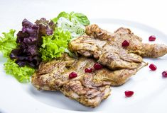 Free Baked Quails With Greens On A White Plate Stock Photography - 144033662