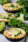 Baked quiche pie with greens Royalty Free Stock Images