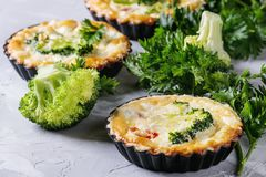 Baked quiche pie with greens Royalty Free Stock Photography
