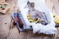 Baked rainbow trout stock image