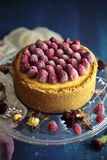 Baked raspberry cheesecake Royalty Free Stock Image