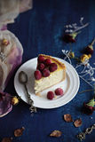 Baked raspberry cheesecake Stock Photos