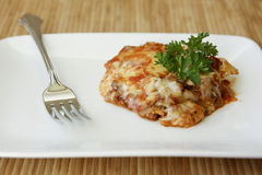 Baked Ravioli. On plate with fork Royalty Free Stock Image