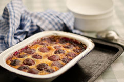 Baked red cherry clafouti Stock Image