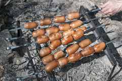 Baked red sausage on fire Stock Image
