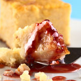 Baked Rice Pudding Dessert with Strawberry Syrup Stock Image