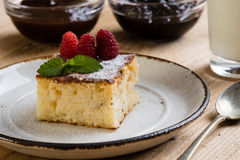 Baked rice pudding with rasberry Stock Images