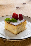 Baked rice pudding with raspberry Stock Photos