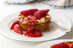 Baked Ricotta Dessert with Strawberries Stock Images