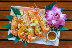 Baked River Prawn with butter and spices. Serve  with spicy dipping Stock Image