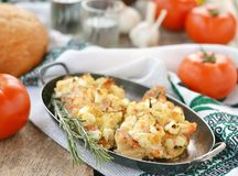 Baked rockfish with feta cheese Royalty Free Stock Images