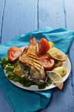 Baked rockfish Stock Photo
