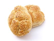 Baked rolls. Isolated on white background Stock Photo