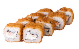 Baked rolls with mayonnaise, cheese, onions, salmon, tuna, smoked eel and shrimp Royalty Free Stock Photo
