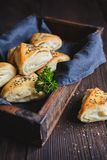Baked rolls with sheep milk cheese filling