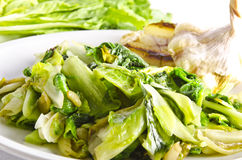 Baked Romaine lettuce with garlic Stock Photos