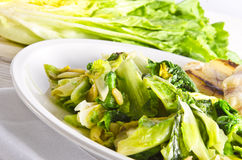 Baked Romaine lettuce with garlic Stock Photography