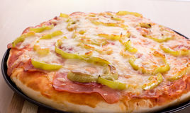 Baked round pizza Royalty Free Stock Images