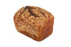 Baked rye bread with linseeds. On the white isolated background Royalty Free Stock Photos