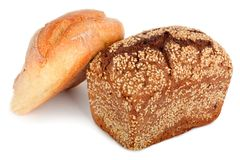 Baked rye bread with linseeds. On the white isolated background Royalty Free Stock Images