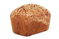 Baked rye bread with linseeds. On the white isolated background Stock Image