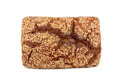 Baked rye bread with linseeds. On the white isolated background Stock Photography