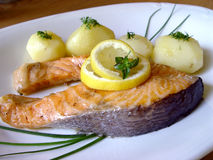 Baked salmon. Tasty fillets Stock Photography