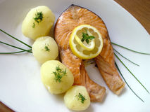Baked salmon. Tasty fish Royalty Free Stock Images