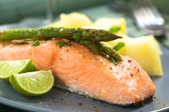 Baked Salmon with Asparagus Stock Images