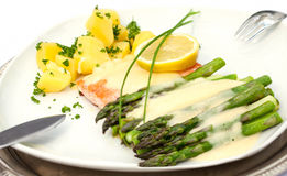 Baked salmon with asparagus Royalty Free Stock Image