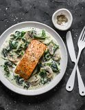 Baked salmon with creamy spinach mushrooms sauce on a dark background, top view. Salmon florentine.  royalty free stock images