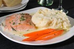 Baked salmon dinner Royalty Free Stock Photos