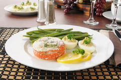 Baked salmon dinner Royalty Free Stock Photo