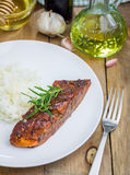 Baked salmon fillet in balsamic-honey sauce Stock Images