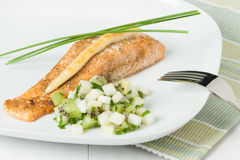 Baked Salmon Fillet. Homemade Salsa Made Of Kiwi, Pears, Chives. And Mint stock images