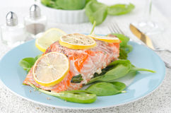 Baked salmon fillet with lemon on a plate Royalty Free Stock Photos