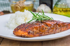 Baked salmon fillet with rice Royalty Free Stock Image